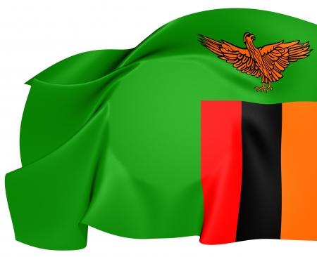 zambian flag: Flag of Zambia. Close Up. Stock Photo