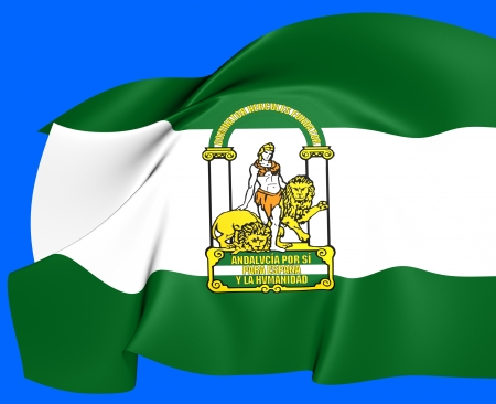 Flag of Andalusia, Spain. Close Up. Stok Fotoğraf