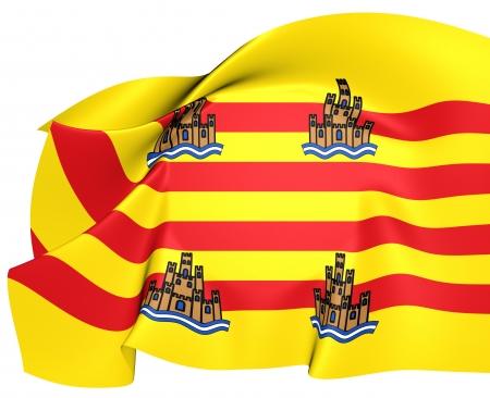 ibiza: Flag of Ibiza, Spain  Close Up