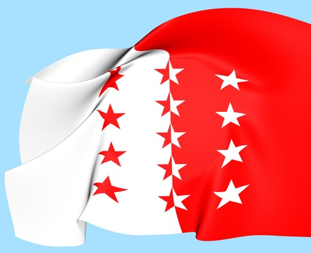 Flag of Valais, Switzerland  Close Up  photo