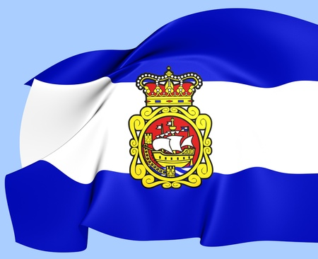 aviles: Flag of Aviles, Spain. Close Up.