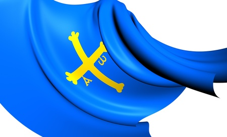 principality: Principality of Asturias Flag, Spain  Close Up