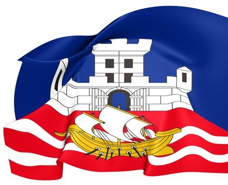 Flag of Belgrade, Serbia  Close Up     photo