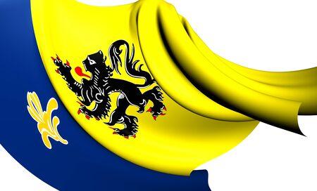 commission: Flemish Community Commission Flag  Close Up     Stock Photo
