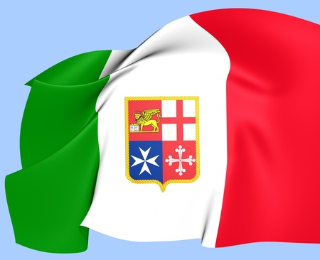 ensign: Civil Ensign of Italy. Close Up.    Stock Photo