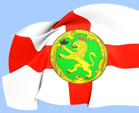 Flag of Alderney. Close Up. photo