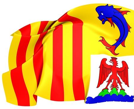 blason: Provence-Alpes-Cote dAzur Flag, France. Close Up.