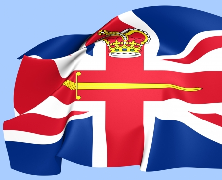 luitenant: Vlag van een Britse Lord Lieutenant. Close Up.