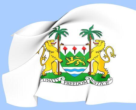 sierra: Sierra Leone Coat of Arms. Close Up.