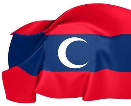 albanian: Albanian Muslim Flag. Close Up.