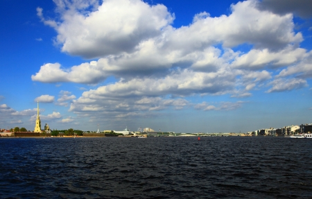 Neva River, Saint Petersburg, Russia.   photo