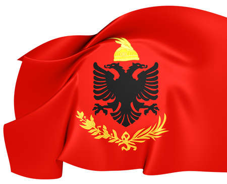 Royal Albanian Army Flag. Close Up. Stock Photo - 21970839