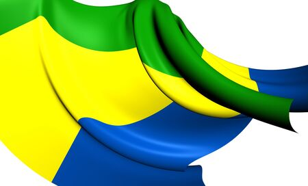 gabon: Flag of Gabon. Close Up.