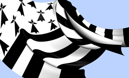 ha: Flag of Brittany, France. Close Up.