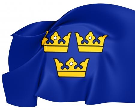 sweden flag: Three Crowns. National Emblem of Sweden.      Stock Photo