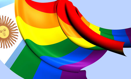 Argentina Gay Flag. Close Up. 3D.     photo