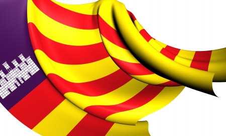 Balearic Islands Flag, Spain.   photo