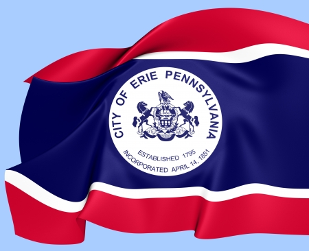 erie: Flag of Erie, USA. Close Up.    Stock Photo