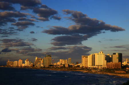 View of the Tel Aviv, Israel. Sunset. photo