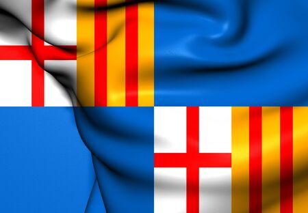 puerto rico: Flag of Barceloneta, Puerto Rico. Close Up.   Stock Photo