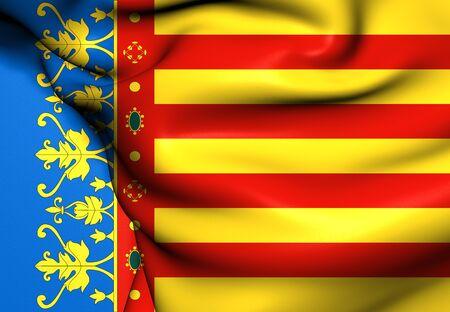 valencia: Flag of Valencian Community, Spain. Close Up.    Stock Photo