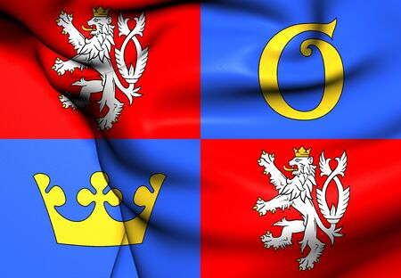Flag of Hradec Kralove Region, Czech Republic. Close Up.    photo