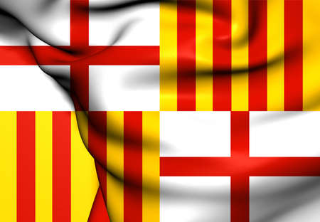 Flag of Barcelona, Spain. Close Up. photo