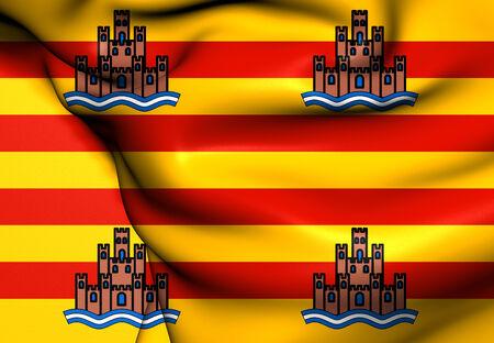 ibiza: Flag of Ibiza, Spain. Close Up.