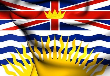 Flag of British Columbia, Canada. Close Up. photo
