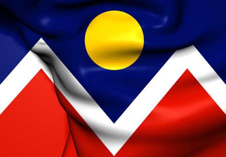 denver: Flag of Denver, USA. Close Up.    Stock Photo