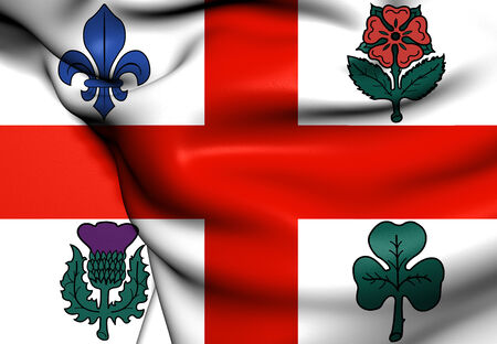 quebec city: Flag of Montreal, Canada. Close Up. Stock Photo