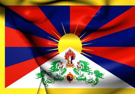 tibet: Flag of Tibet. Close Up.