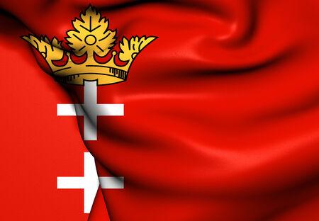 gdansk: Free City of Danzig Flag. Close Up.