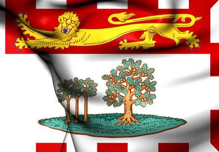 edward: Flag of Prince Edward Island, Canada. Close Up. Stock Photo