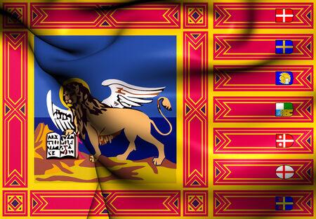 veneto: Flag of Veneto. Close Up.