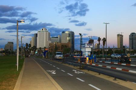 TEL AVIV, ISRAEL - 26 AUGUST, 2014: Downtown of the Tel Aviv, Twilight.