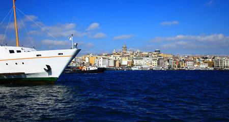 bogazici: View of the Karakoy, Istanbul. Turkey.  Stock Photo