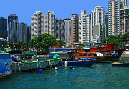 dwelling: View of the Aberdeen, Hong Kong. Day.