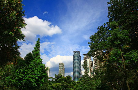 city centre: View of the Kuala Lumpur City Centre. Day.