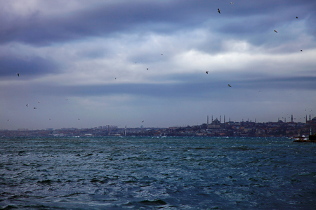 bogazici: View to Fatih from the Kadikoy, Istanbul.