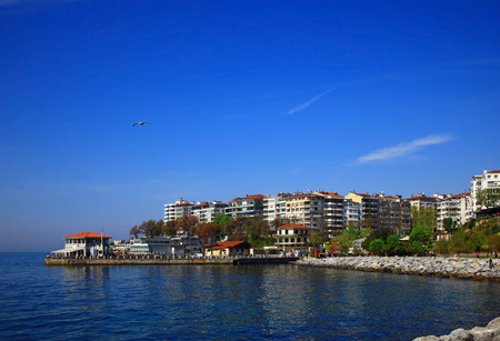 bogazici: View of the Moda (Kadikoy), Istanbul. Day. Stock Photo
