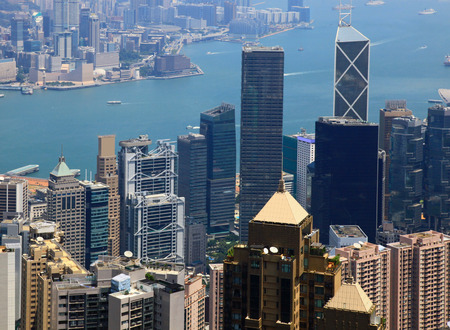 香港、ビクトリア ピークからの眺め。日。