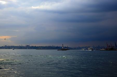 fatih: View of the Fatih, Istanbul. Twilight.