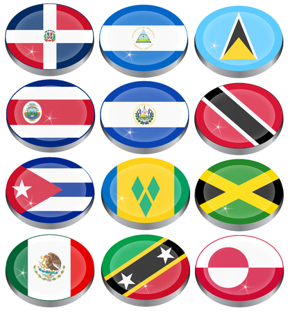 costa rican flag: Set of icons. North and Central Americas flags. Illustration