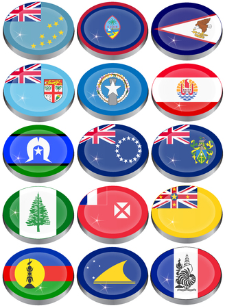 oceania: Set of icons. Flags of Australia, Oceania, Polynesia, Micronesia and Melanesia.