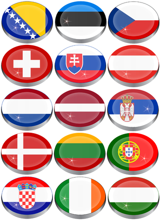 slovakian: Set of icons. Flags of the Europe.
