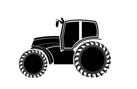 blackandwhite: Black-and-white silhouette of the tractor Illustration