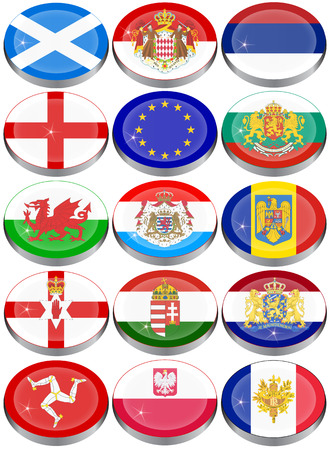 cymru: Set of icons. Flags of the Europe.