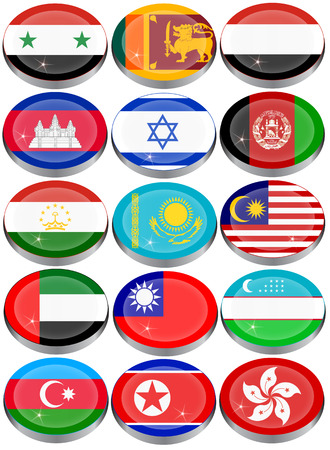 jewish group: Set of icons. Flags of the Asia.