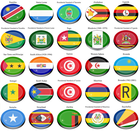 former: Set of icons. Flags of the Africa. Illustration